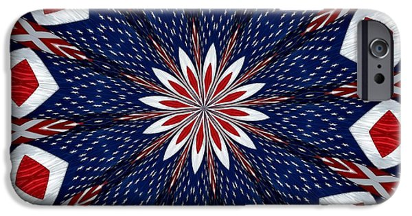 4th July Digital Art iPhone Cases - American Flag Kaleidoscope Abstract 2 iPhone Case by Rose Santuci-Sofranko