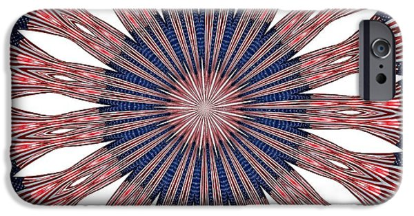 4th July Digital Art iPhone Cases - American Flag Kaleidoscope Abstract 5 iPhone Case by Rose Santuci-Sofranko