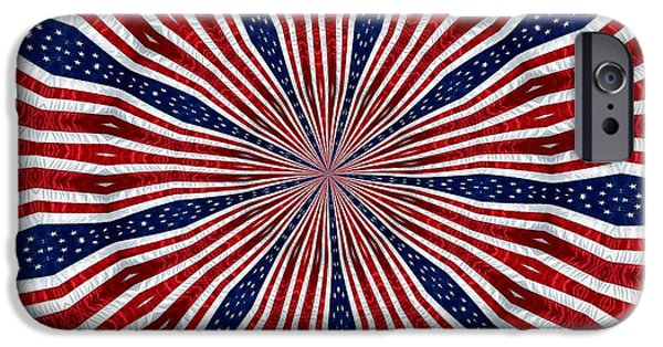4th Of July iPhone Cases - American Flag Kaleidoscope Abstract 6 iPhone Case by Rose Santuci-Sofranko