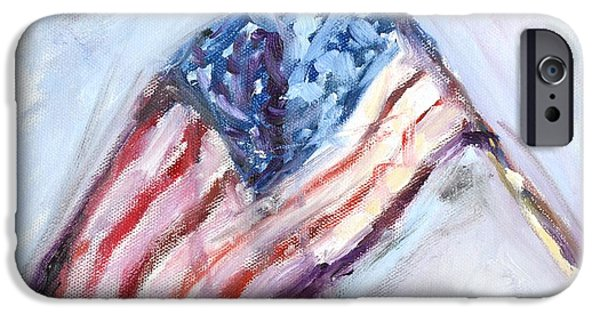 4th July Paintings iPhone Cases - American Flag Painting iPhone Case by Donna Tuten