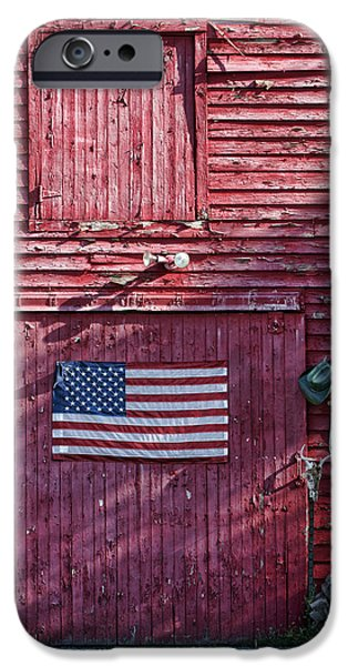 Constitution iPhone Cases - American Flag - Red Barn - Nebraska iPhone Case by Nikolyn McDonald