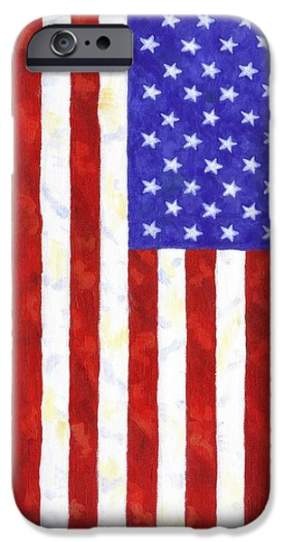 4th July Paintings iPhone Cases - American Flag vertical iPhone Case by Linda Mears