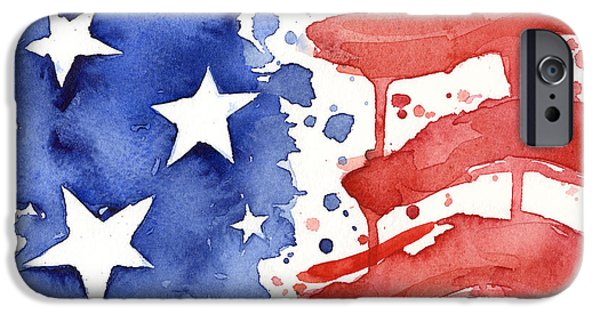 4th July Paintings iPhone Cases - American Flag Watercolor Painting iPhone Case by Olga Shvartsur