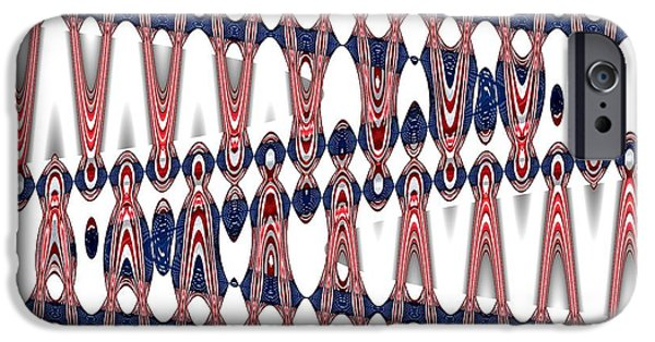 4th Of July iPhone Cases - American Flag Zig Zag Wave Abstract 2 iPhone Case by Rose Santuci-Sofranko