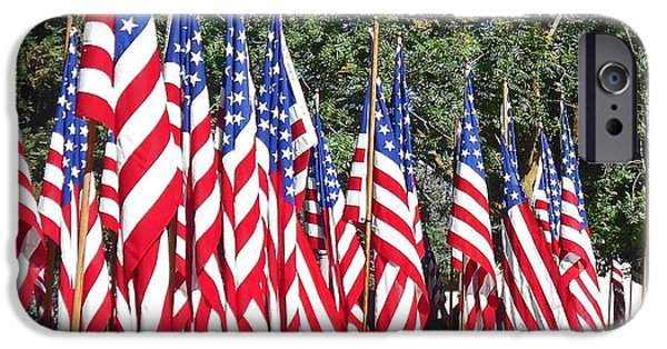 4th July Photographs iPhone Cases - American Flags Ill iPhone Case by Kathy Franklin