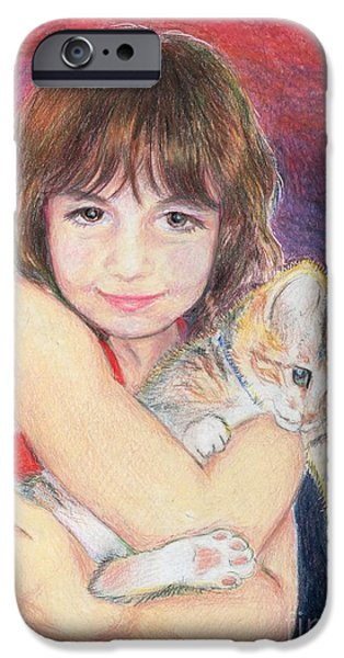 Beautiful Cat Drawings iPhone Cases - American Girls   -   A girl and a cat iPhone Case by Yoshiko Mishina