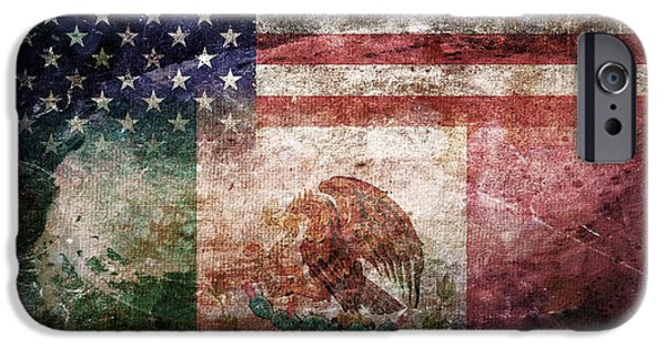 4th July iPhone Cases - American Mexican Tattered Flag  iPhone Case by Az Jackson