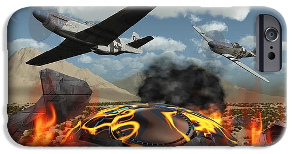 Paranormal Digital iPhone Cases - American P-51 Mustang Fighter Planes iPhone Case by Mark Stevenson
