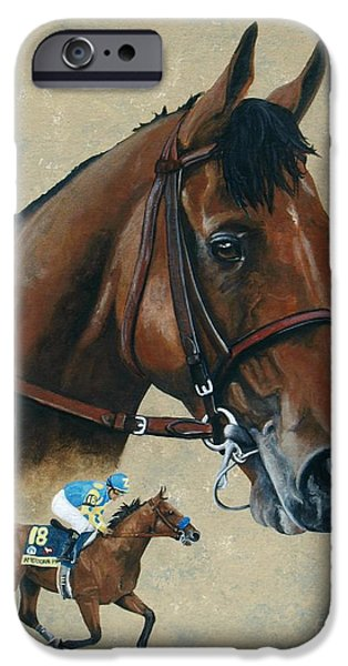 Horse Racing iPhone Cases - American Pharoah iPhone Case by Pat DeLong
