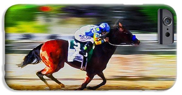 Horse Racing Digital iPhone Cases - American Pharoah iPhone Case by Rick Mosher