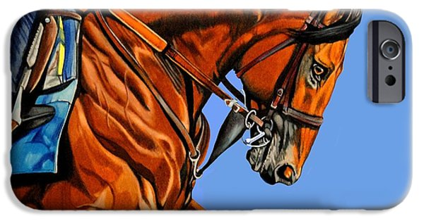 Horse iPhone Cases - American Pharoah - Triple Crown Winner in Blue iPhone Case by Cheryl Poland