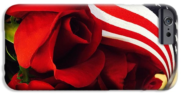 American Flag iPhone Cases - American Red Roses  iPhone Case by Bri Lou