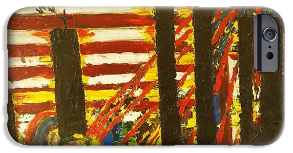 4th July Paintings iPhone Cases - American Trilogy 9/11 Memorial #2 iPhone Case by Ronald Carlino Jr