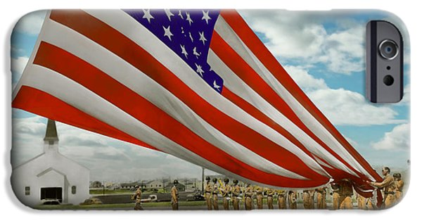 Flag iPhone Cases - Americana - Fort Hood Texas - Unfolding the flag 1944 iPhone Case by Mike Savad