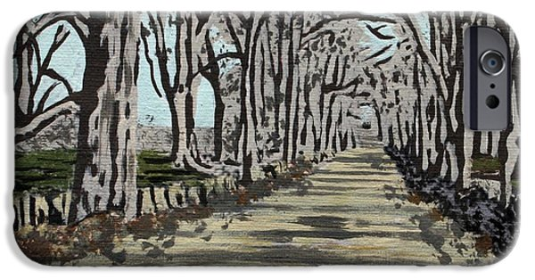 Asphalt Paintings iPhone Cases - Americana No.3 Rural Road No.5 iPhone Case by Sheri Parris