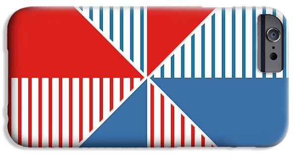 Geometric Shape iPhone Cases - Americana Pinwheel iPhone Case by Linda Woods