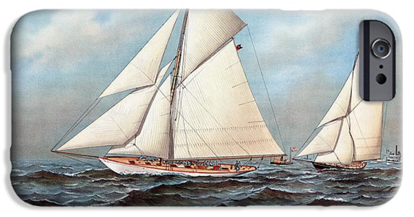 Recently Sold -  - Sailing iPhone Cases - Americas Cup, 1883 iPhone Case by Granger