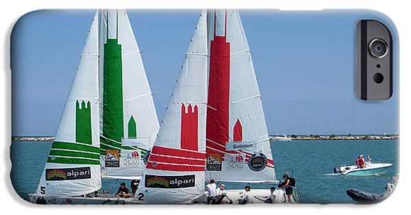 Racing iPhone Cases - Americas Cup IV iPhone Case by Cindy Kellogg