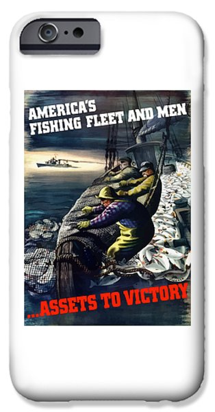 Fishermen iPhone Cases - Americas Fishing Fleet And Men  iPhone Case by War Is Hell Store