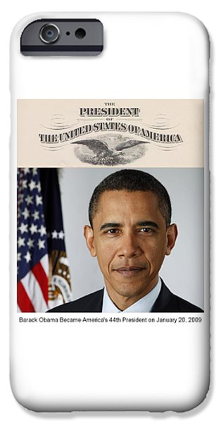 44th President iPhone Cases - Americas Forty-Fourth President - Version Two iPhone Case by Philip Burrow