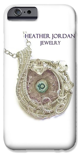 Jordan Jewelry iPhone Cases - Amethyst Stalactite Slice Druzy Wire-Wrapped Pendant in Sterling Silver with Herkimer Diamonds iPhone Case by Heather Jordan