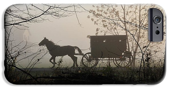 Horse iPhone Cases - Amish Buggy Foggy Sunday iPhone Case by David Arment