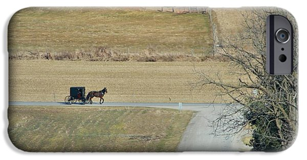 Family Time iPhone Cases - Amish Horse And Buggy On A Country Road iPhone Case by Dan Sproul