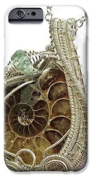Jordan Jewelry iPhone Cases - Ammonite Wire-Wrapped Pendant in Sterling Silver with Aquamarine FAPSS4 iPhone Case by Heather Jordan