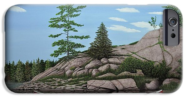 Canoe iPhone Cases - Among the Rocks II iPhone Case by Kenneth M  Kirsch
