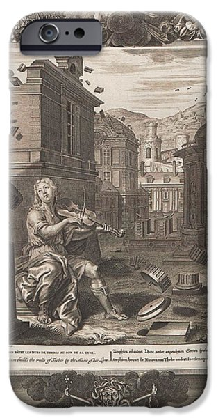 Thebes iPhone Cases - Amphion builds the walls of Thebes by the Music of his Lyre iPhone Case by Celestial Images