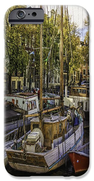 Old Cars iPhone Cases - Amsterdam Boats iPhone Case by Jean OKeeffe Macro Abundance Art