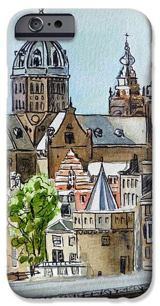 Holland Paintings iPhone Cases - Amsterdam Holland iPhone Case by Irina Sztukowski