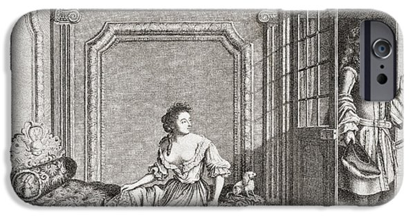 Bathing Drawings iPhone Cases - An 18th Century Lady Taking A Footbath iPhone Case by Ken Welsh