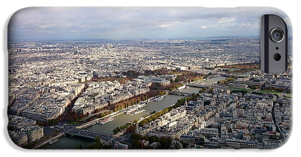 River View iPhone Cases - An Aerial View of Paris iPhone Case by Simone