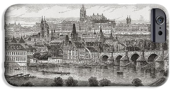 River View Drawings iPhone Cases - An Aerial View Of Prague, Czech iPhone Case by Ken Welsh