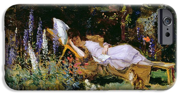 Garden Scene iPhone Cases - An Afternoon Nap iPhone Case by Harry Mitten Wilson