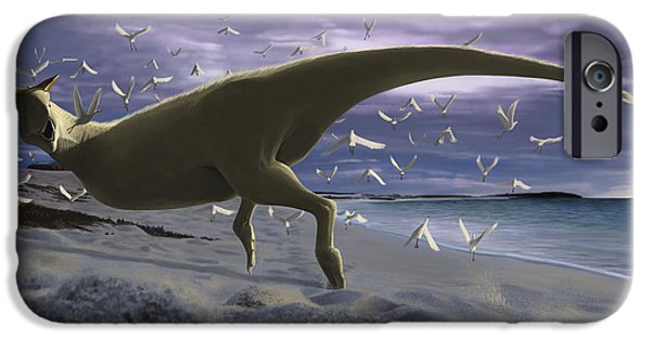 Flying Seagull iPhone Cases - An Albino Carnotaurus Surprising iPhone Case by Michele Dessi