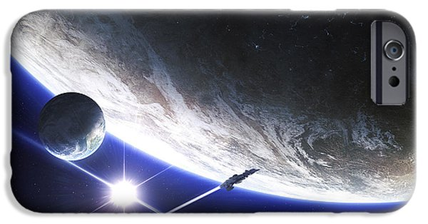 Destiny Digital iPhone Cases - An Alien Patrol Zooms iPhone Case by Kevin Lafin