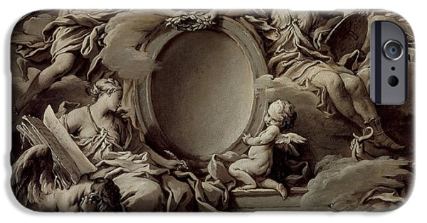 Allegory iPhone Cases - An Allegory of Minerva Fame History and Faith Overcoming Ignorance and Time iPhone Case by Francois Boucher