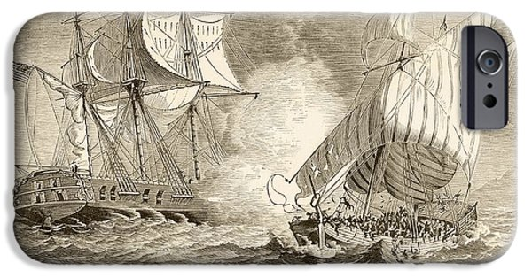 Pirate Ships Drawings iPhone Cases - An American Navy Ship Captures An iPhone Case by Ken Welsh
