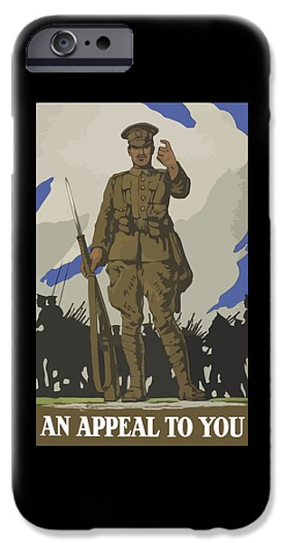 World War One Digital Art iPhone Cases - An Appeal To You iPhone Case by War Is Hell Store