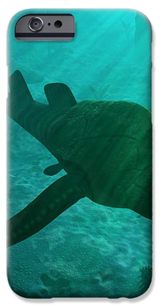 An Armored Bothriolepis Glides iPhone Case by Walter Myers