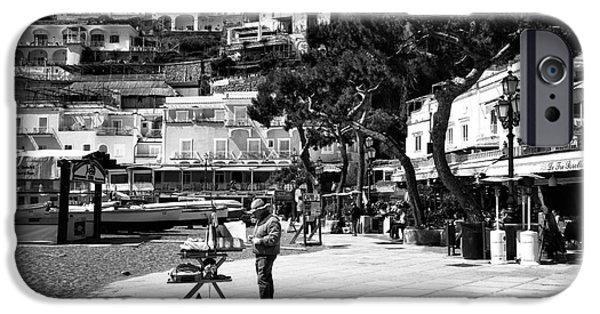 Painter Photo Photographs iPhone Cases - An Artist in Positano iPhone Case by John Rizzuto