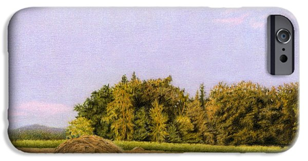 Agriculture Drawings iPhone Cases - An Autumn Evening iPhone Case by Sarah Batalka