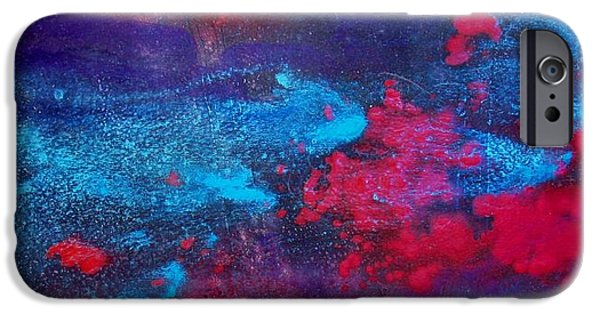 Business Paintings iPhone Cases - An Eruption of Red iPhone Case by Louise Adams