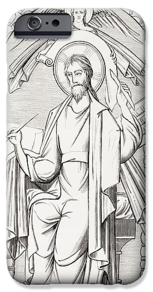 Miracle Drawings iPhone Cases - An Evangelist Writes A Sacred Text And iPhone Case by Ken Welsh