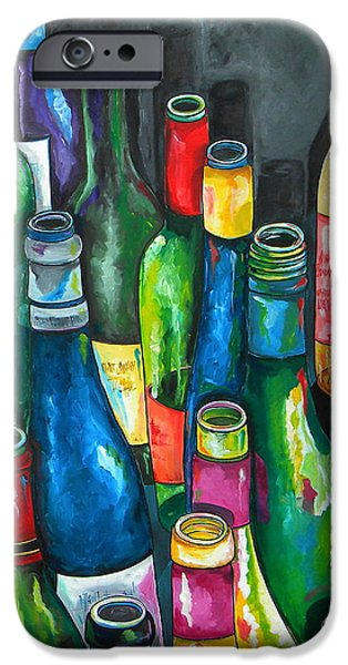 Italian Wine Paintings iPhone Cases - An Evening With Friends iPhone Case by Patti Schermerhorn