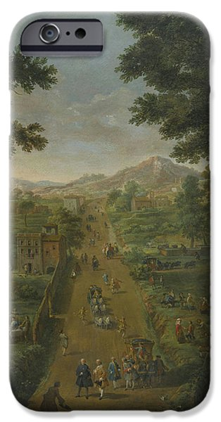 Landscape With Figure iPhone Cases - An Extensive Landscape iPhone Case by Giovanni Paolo Panini