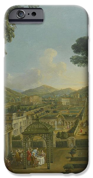Landscape With Figure iPhone Cases - An Extensive Landscape With Villas And Figures iPhone Case by Giovanni Paolo Panini