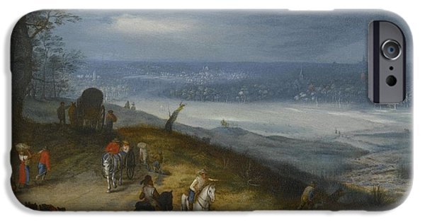 The Followers iPhone Cases - An Extensive Wooded Landscape With Travelers iPhone Case by Follower of Jan Brueghel the Elder